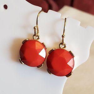 Gold Tone Plastic Red Square Dangle Hook Earrings